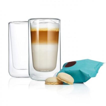Set van 2 dubbelwandige glazen 'Nero' Latte Macchiato